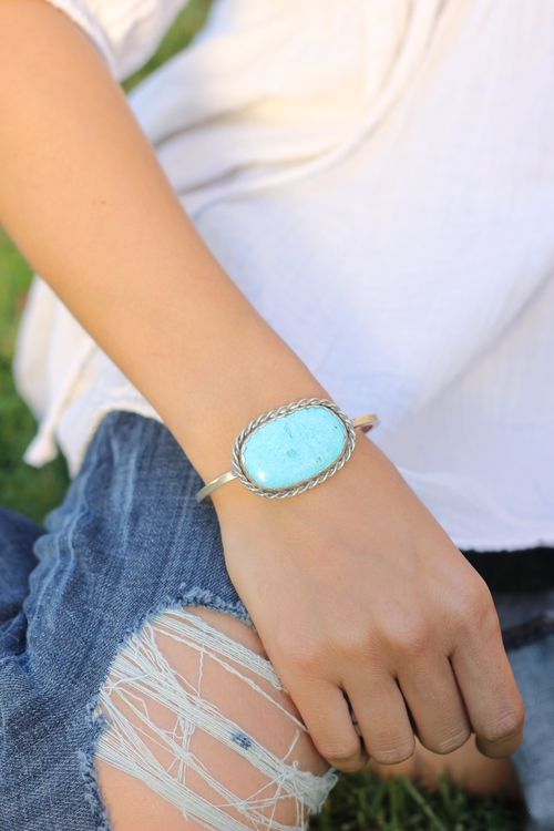 Turquoise Oval Cuff