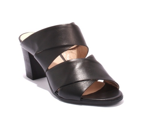 Black Leather Strappy Heels Slides Sandals