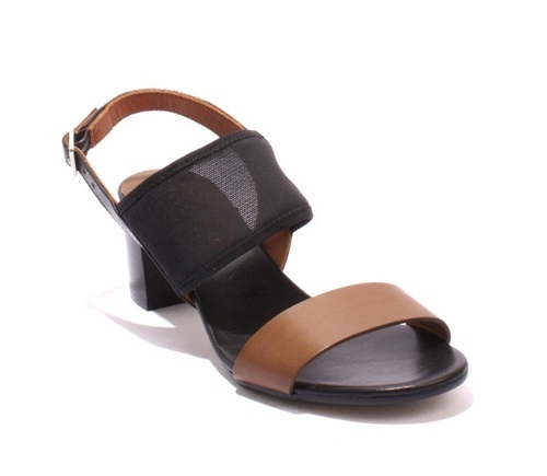 Black / Brown Leather / Stretch Heels Slingbacks Sandals