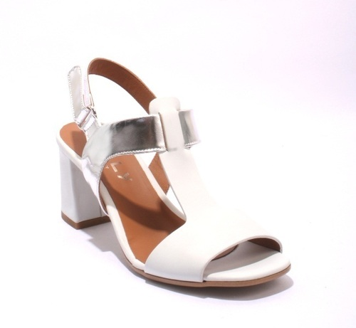 White / Silver Leather / T-strap Heels Slingbacks Sandals
