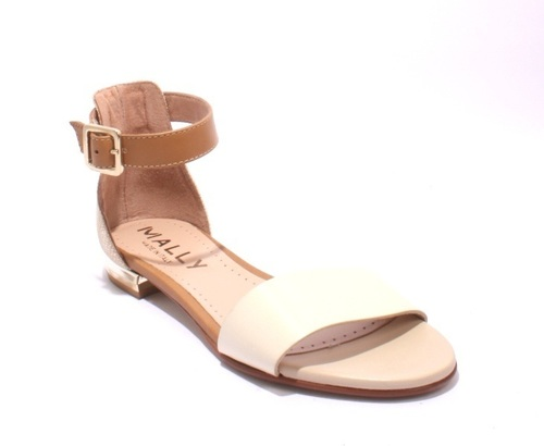 Beige / Brown Leather / Suede Ankle Strappy Sandals