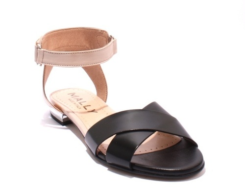 Beige / Black Leather Ankle Strappy Sandals
