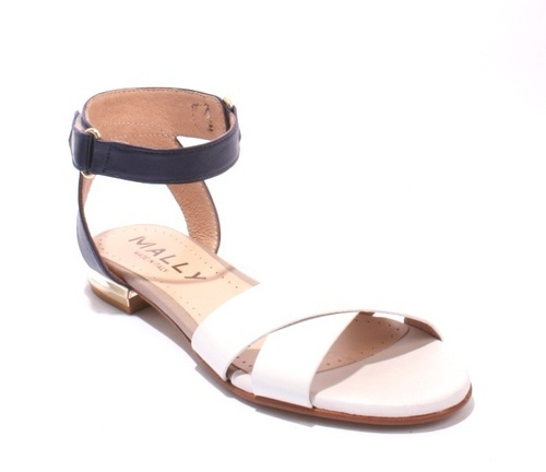 Off White / Navy Leather Ankle Strappy Sandals