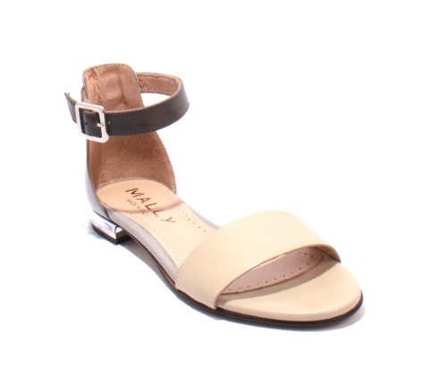 Beige / Gray Leather Ankle Strappy Sandals