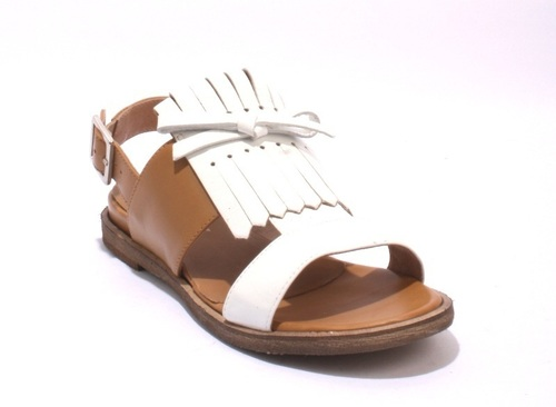 White Patent Fringe / Brown Leather Slingbacks Sandals