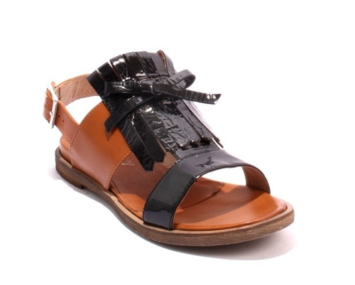 Black Patent Fringe / Brown Leather Slingbacks Sandals