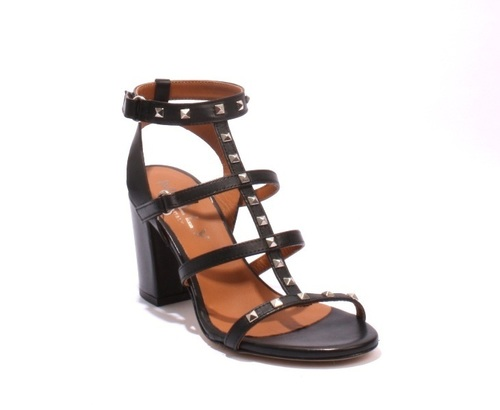 Black Studded Leather Gladiator / Heels Summer Sandals
