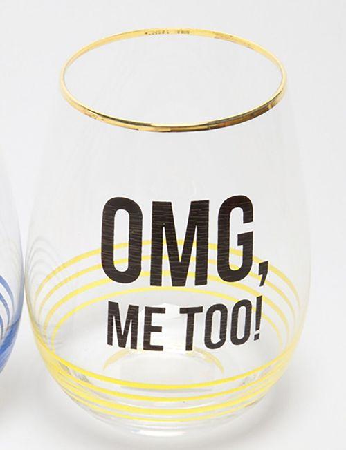 Stemless Wine Glass OMG