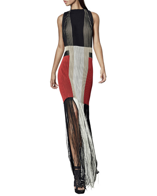 Colorblock Ribbed Jacquard Dress with Fringe