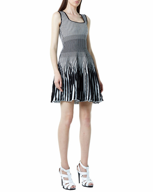 Stripe Circular Jacquard Ruffle Flare Dress