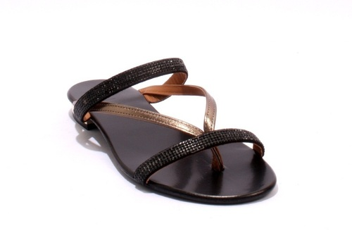 Black Bronze Leather / Suede Thong Strappy Sparkle Sandals