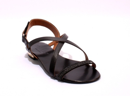 Black Leather / Suede Sparkle Strappy Slingbacks Sandals