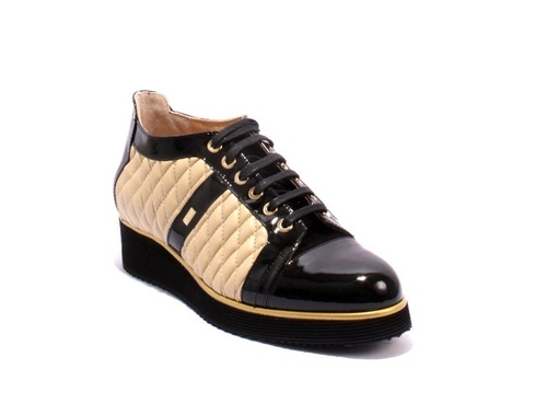 Black Patent / Beige Leather Lace-Up Wedge Shoes