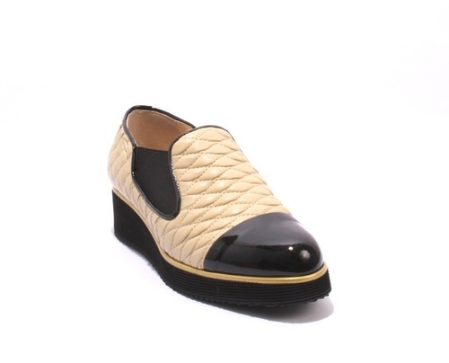 Black Patent / Beige Leather Wedge Loafers Shoes
