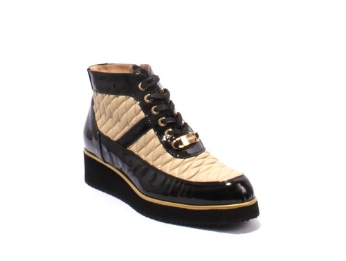 Black Patent / Beige Leather Lace-Up Wedge Ankle Shoes