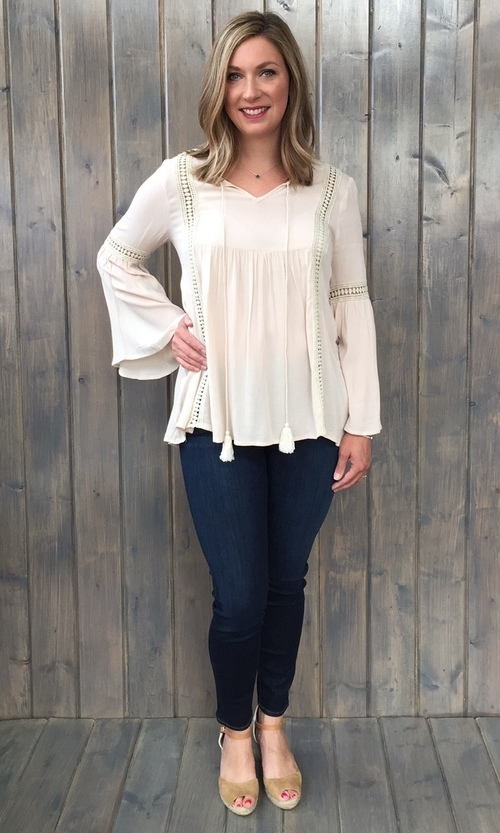 Tassel Front Bell Sleeve Top