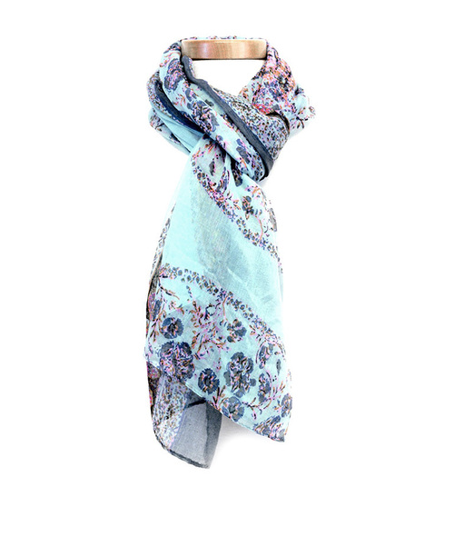 Turquoise & Gray Floral Circles Scarf