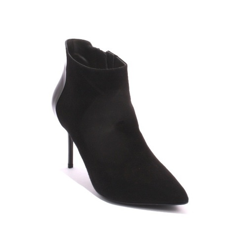 Black Suede / Leather Pointy Toe Ankle Boots