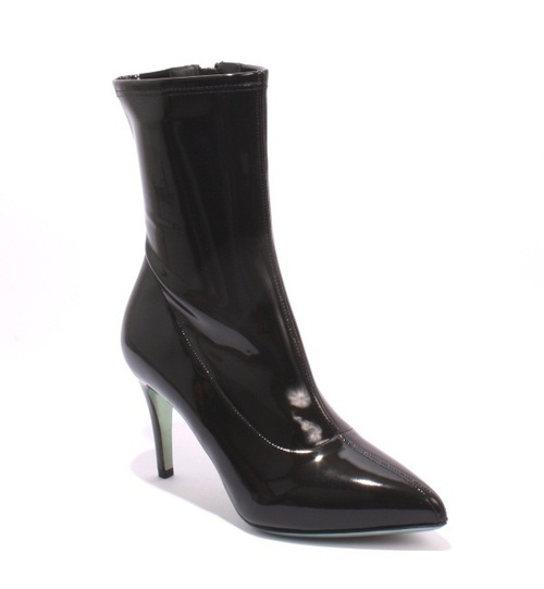 Black Stretch Patent Vinal Leather Mid-Calf Booties