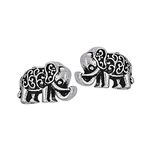 Lucky Elephant Scroll Stud Earrings