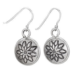 Round Flower Stamp Disc Earrings