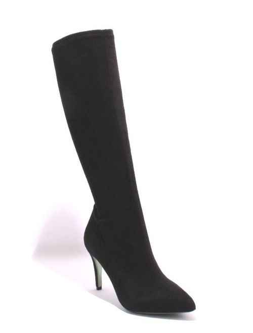 Black Stretch UltraSuede / Leather Knee-High Boots
