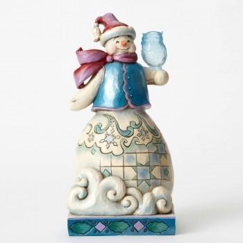 Snowman With Owl Figurine