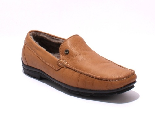 Tan Leather / Sheepskin Deer Driver Moccasins