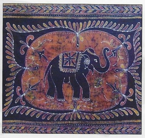 Elephant Batik Tapestry Double