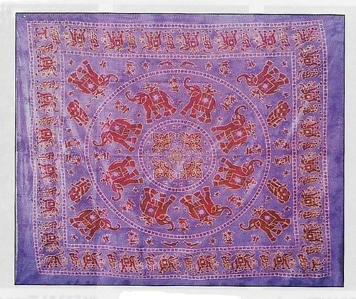 Elephant Tapestry Double Purple