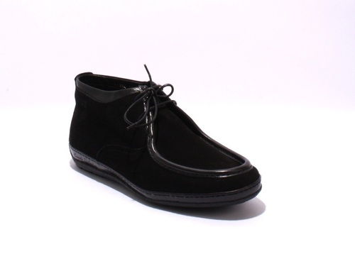 Black Suede / Sheepskin Lace-Up Ankle Moccasins Boots