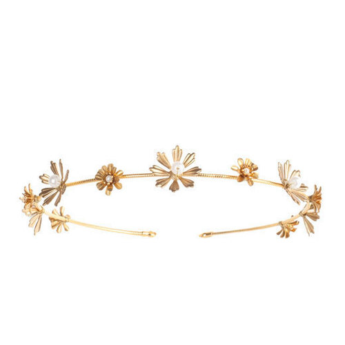 Isadora - Gold Floral Diadem with Pearls