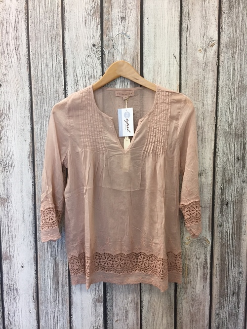 Blush Pleated Embroidered Top