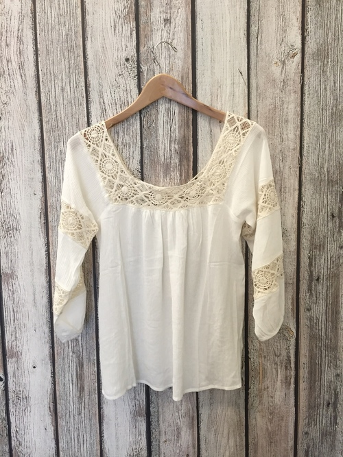 Square Neck Lace Gauze Top