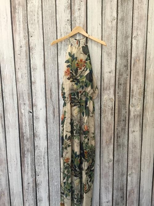 Lace Back Floral Halter Maxi