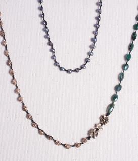 "42"" Green Labradorite and Freshwater Peacock Pearl Layering Necklace"