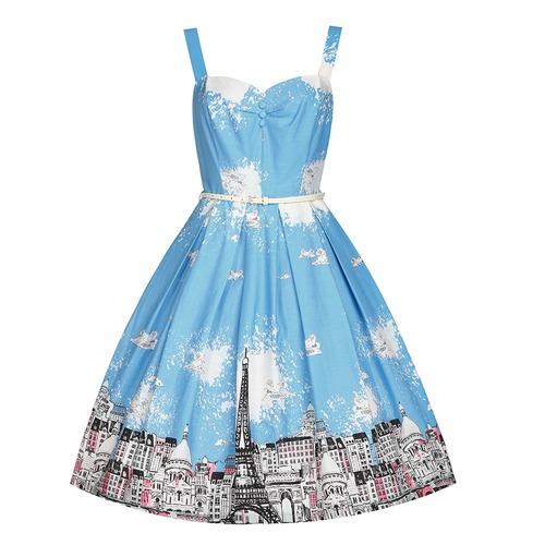Lindy Bop Bernice Paris Border Swing Dress