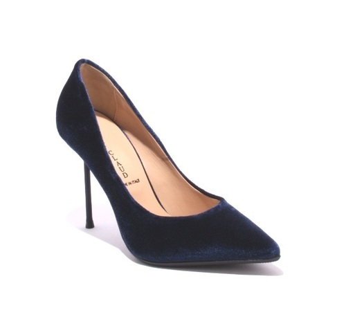Navy Velour / Leather / Pointy / Metal Heel Pumps