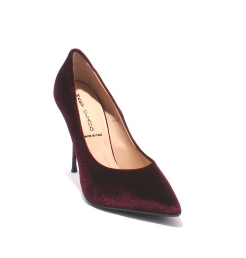 Burgundy Velour / Leather / Pointy / Metal Heel Pumps