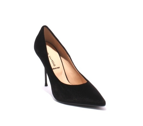 Black Velour / Leather / Pointy / Metal Heel Pumps