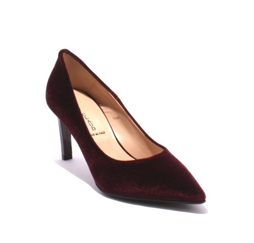 Burgundy Velour / Leather / Pointy / Heel Pumps
