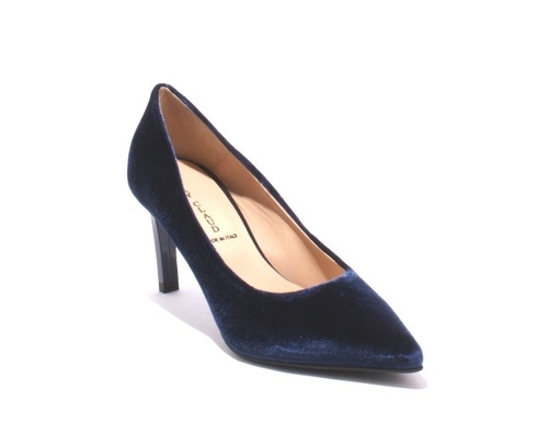 Navy Velour / Leather / Pointy / Heel Pumps