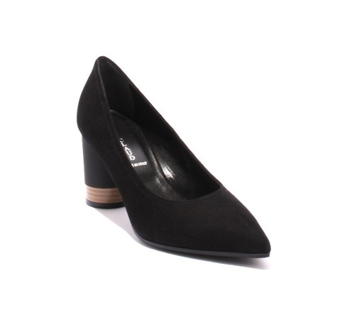 Black / Suede / Pointy Toe / Geometric Heel Pumps