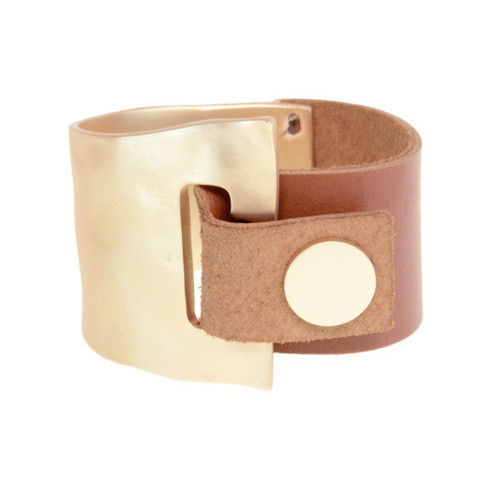 Camel Leather Gold Metal Cuff