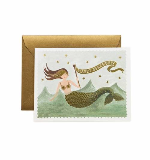 Vintage Mermaid Birthday Card- Set of 8
