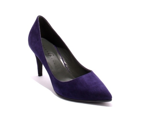 Navy Blue Suede Pointy Pumps