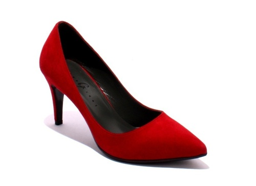 Deep Red Suede Pointy Pumps