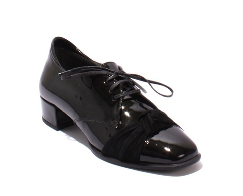 Black Patent Leather / Suede Lace-Up Casual Loafers