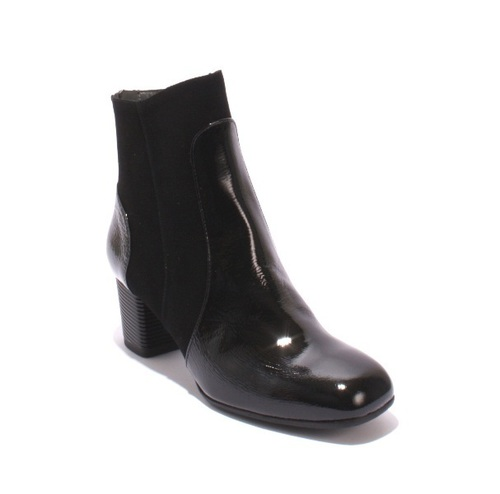 Black Patent Leather / Suede Back Zip Ankle Booties