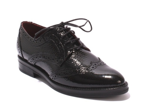 Black Patent Leather / Pointy Oxford Lace-Up Loafers